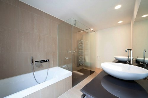 Example of a bathroom with our timber flooring in Perth