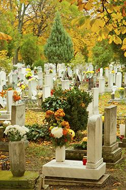 Vista del cimitero, fiori e incroci
