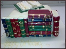 Cake shaped like a row of books