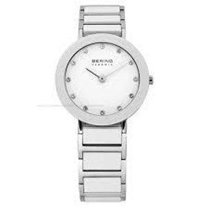 orologio in acciaio con quadrante bianco