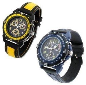 un orologio con cinturino giallo e uno con cinturino blu