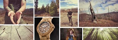 collage di foto che descrive produzione di orologio in legno