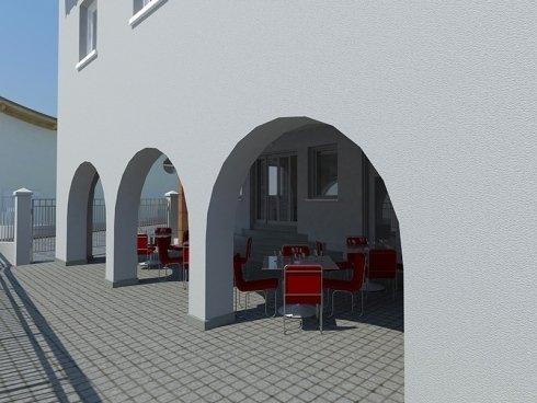 rendering di progetto portico