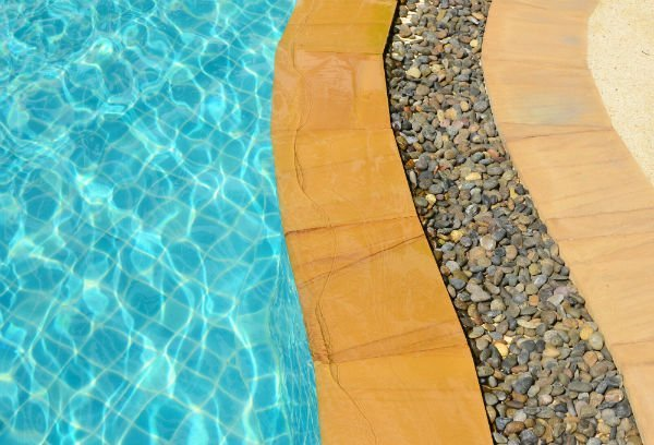 Swimming pool and marble floor