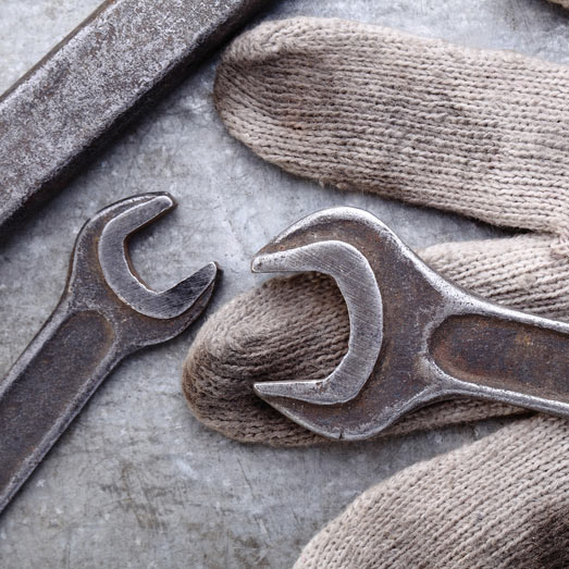 wrenches and glove