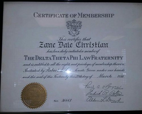 View of the certificate of membership to the attorney in Bluefield