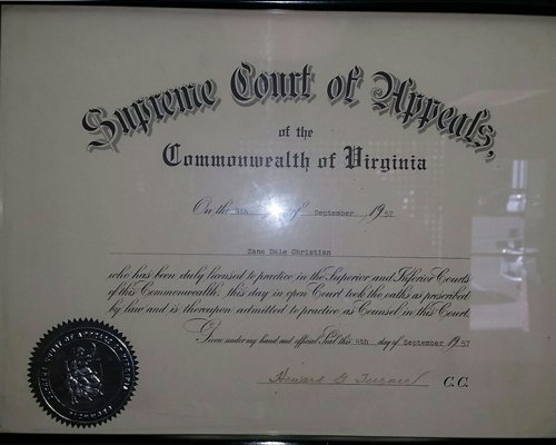 View of the certificate from the supreme court in Bluefield