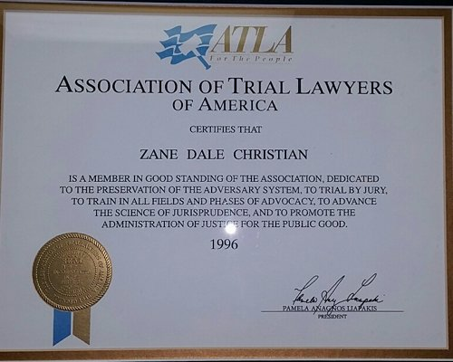 Certificate from the trial lawyers in Bluefield
