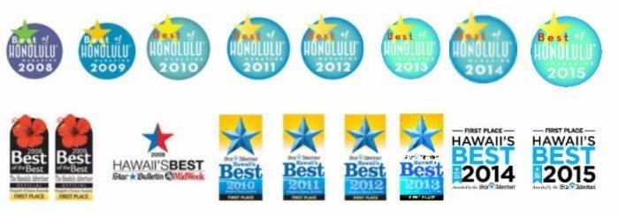 Best of Honolulu, Best of Hawaii Dry Cleaner awards