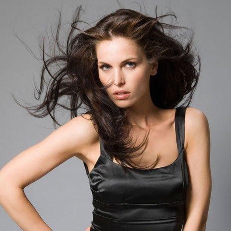 a lady in black dress