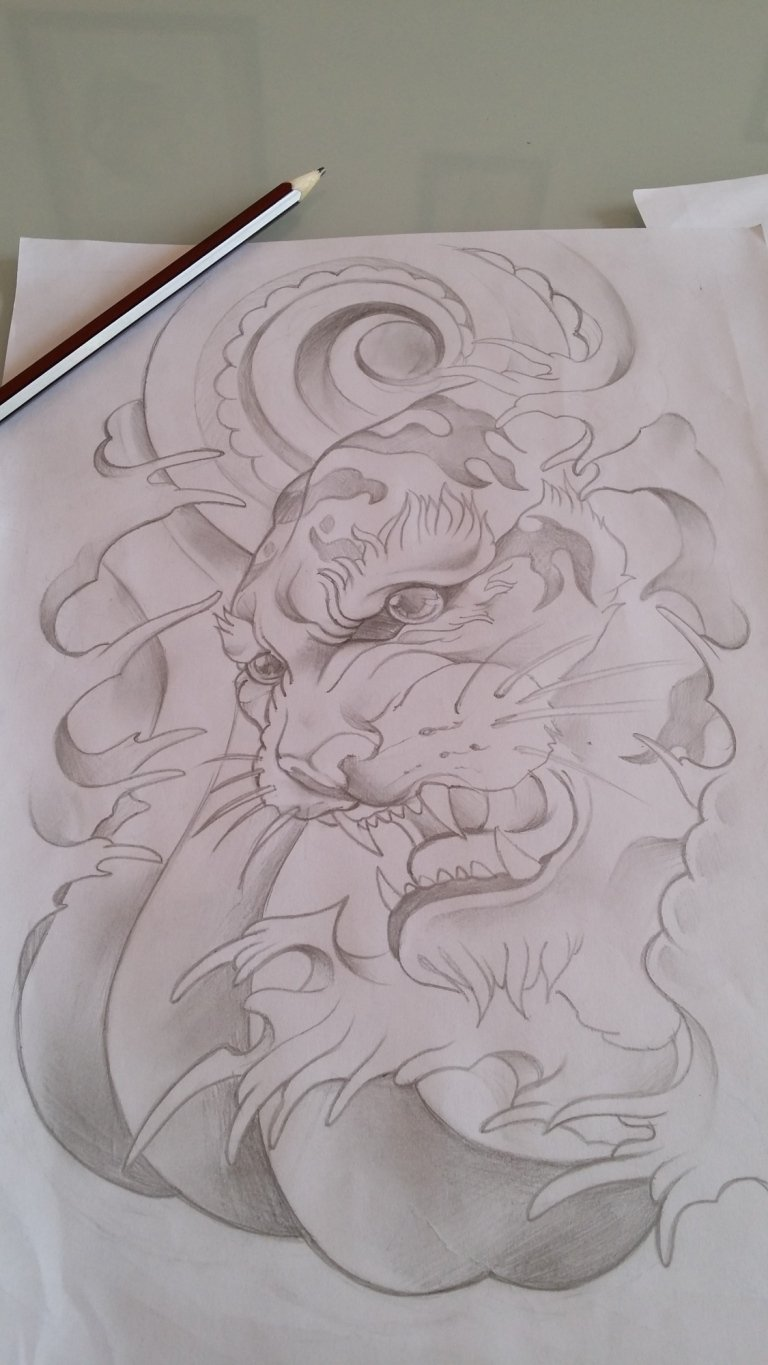 sketch japan tiger tigre