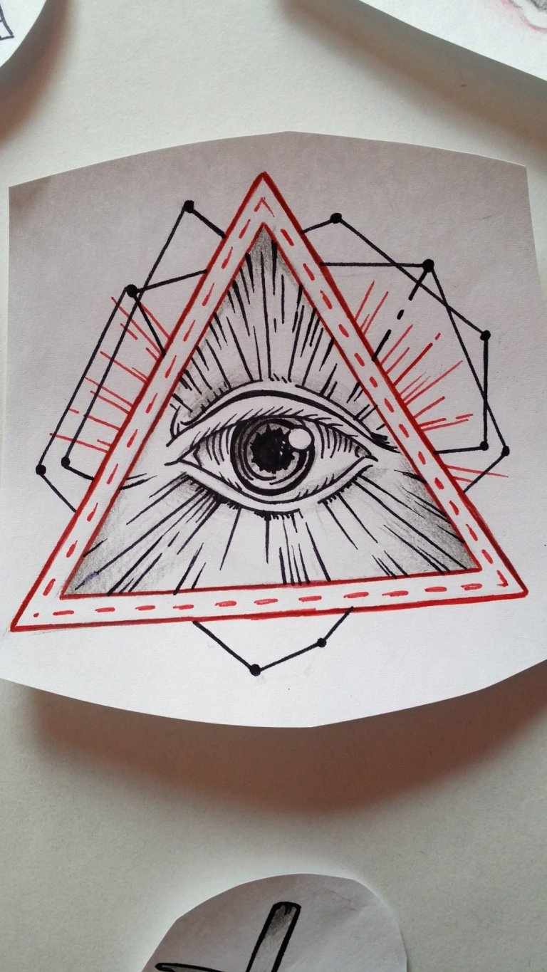 sketch occhio triangolo piramide illuminati