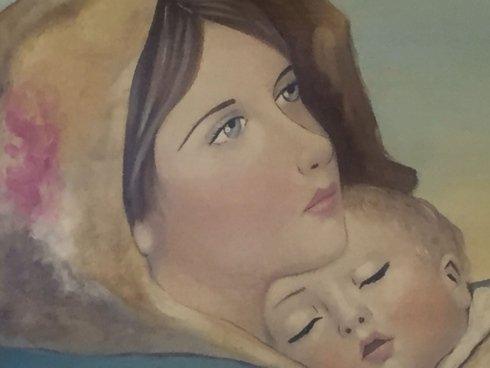 la madonna con bambino dipinto a mano