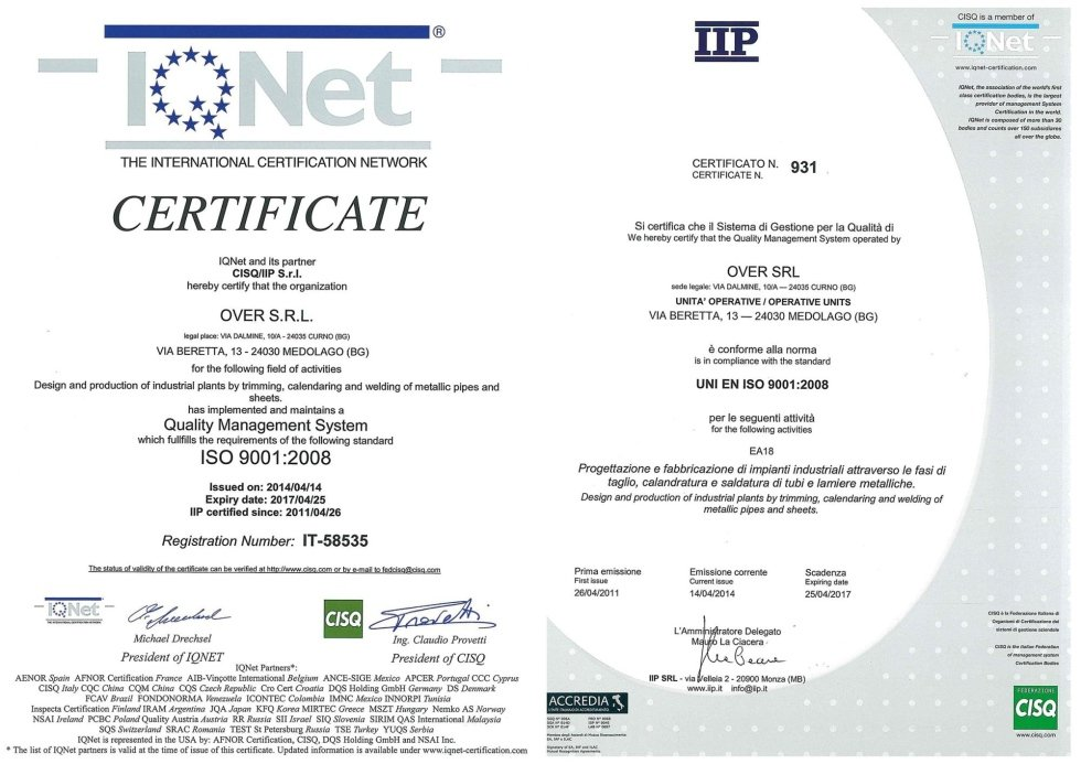 Over quality certifications