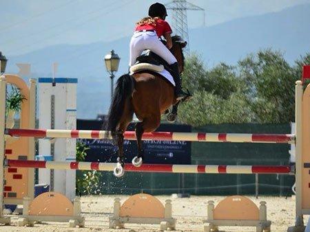 una ragazza su un cavallo mentre salta su un ostacolo