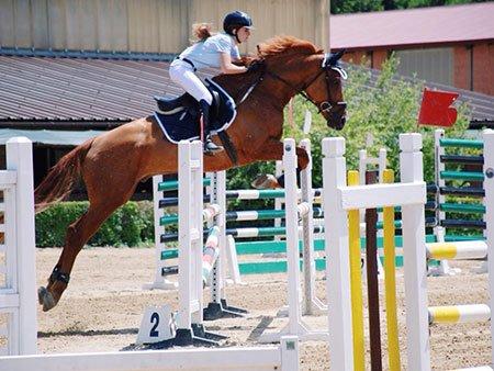 una ragazza durante l'equitazione salto ostacoli con un cavallo marrone