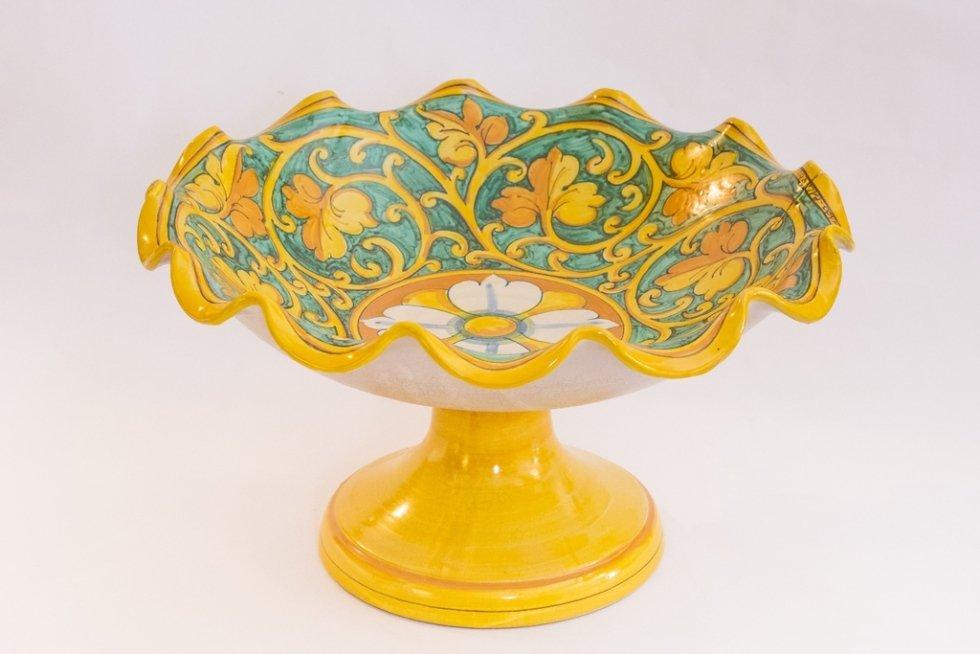 alzata in ceramica decorata