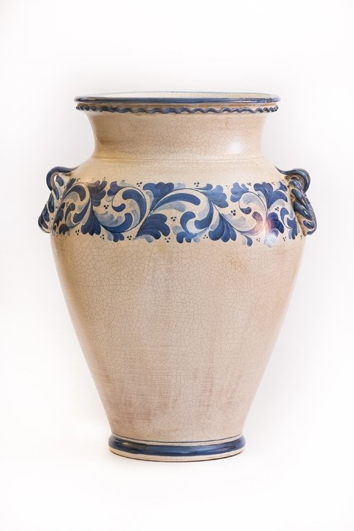Vaso in ceramica bianca e blu