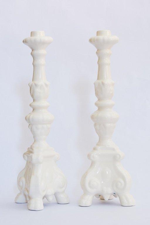 candelabri ceramica bianca