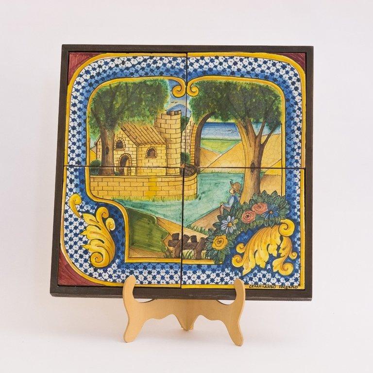paesaggio su pannello in ceramica