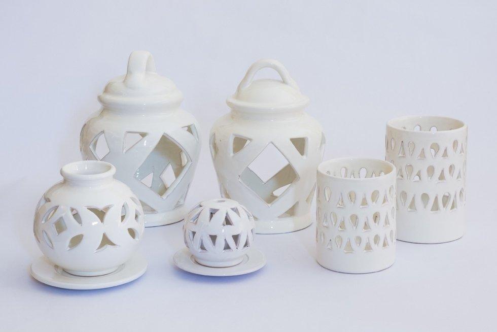 porta candela in ceramica bianca