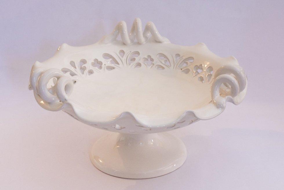 alzata in ceramica bianca