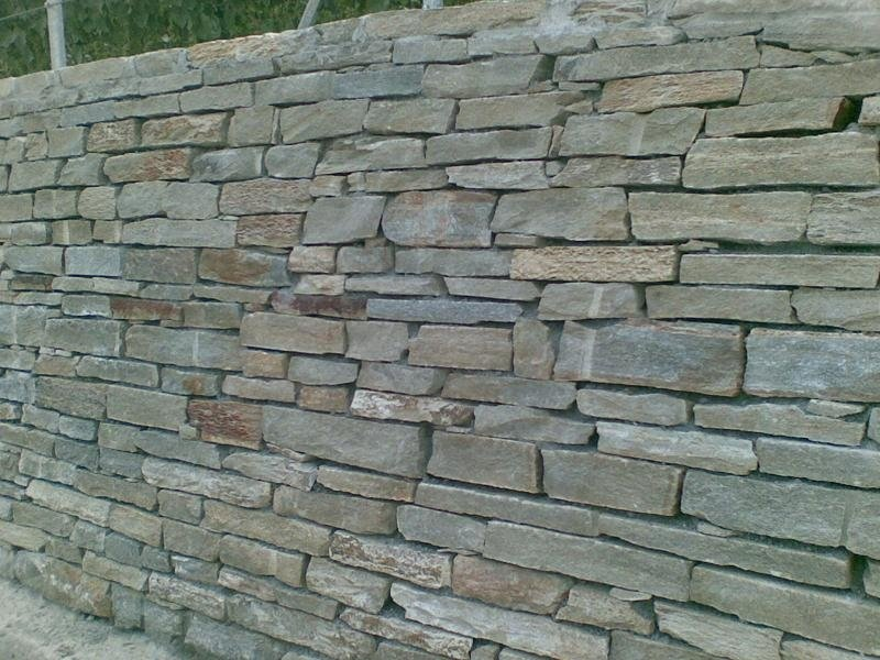 Sheared stacked stones for wall