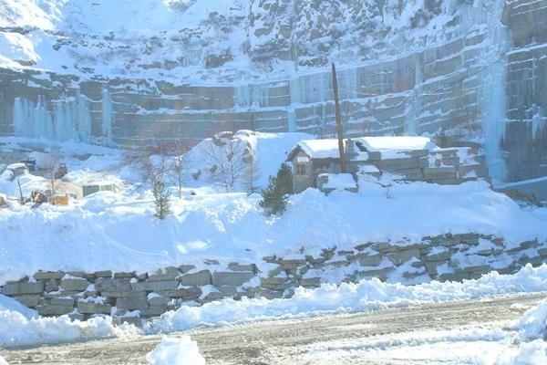 Snow-clad quarry