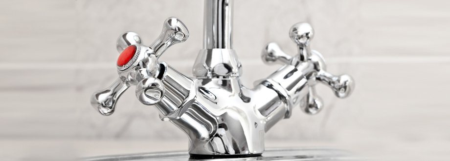 Shiny chrome mixer taps