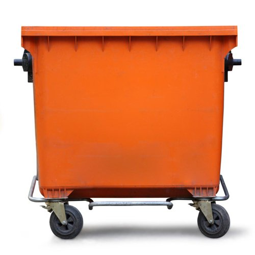 An orange 2 cubic meter skip bin in Perth