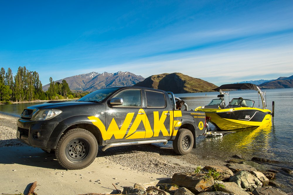 Launching the wakeboard boat into Lake Wanaka