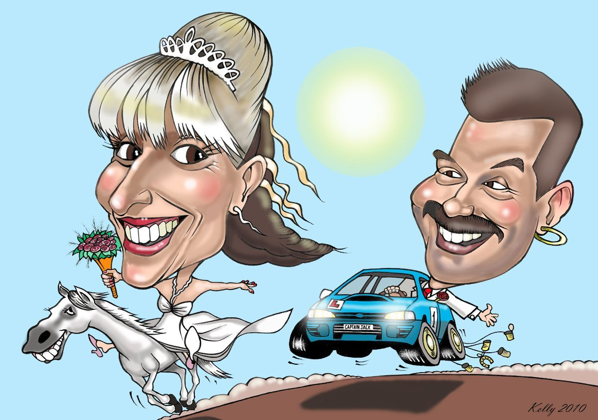 caricature of a married couple