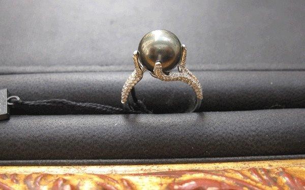 rif. A136 - anello dorato con perla