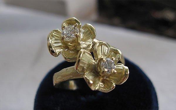 anello doppio fiore
