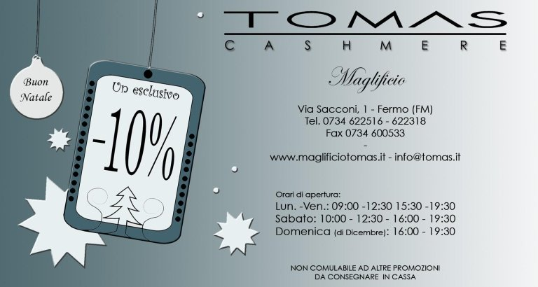 Coupon Maglificio Tomas - Natale 2016