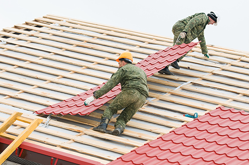 Roof installation being done by professional