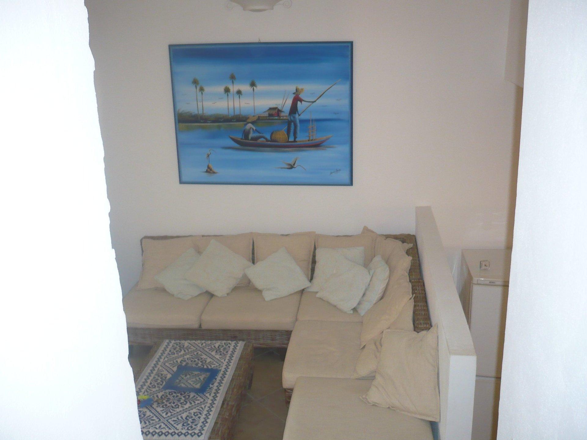 divano con cuscini e parete attrezzata
