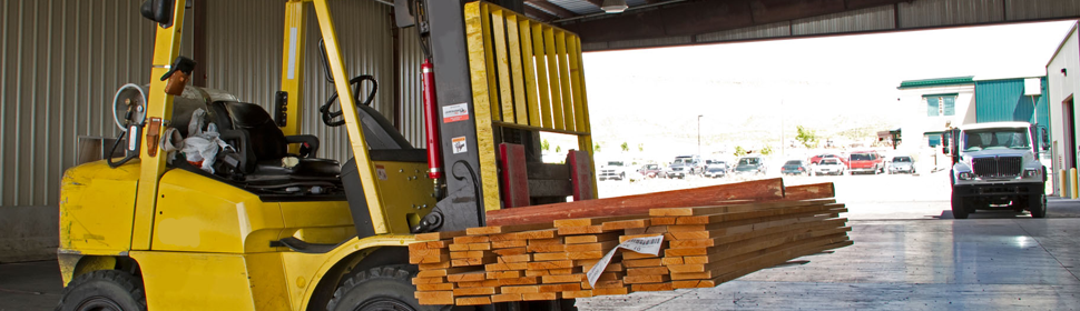 yellow forklift truck used in training
