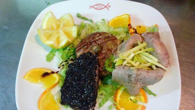 verticale di tonno (stacked tuna delicacies)