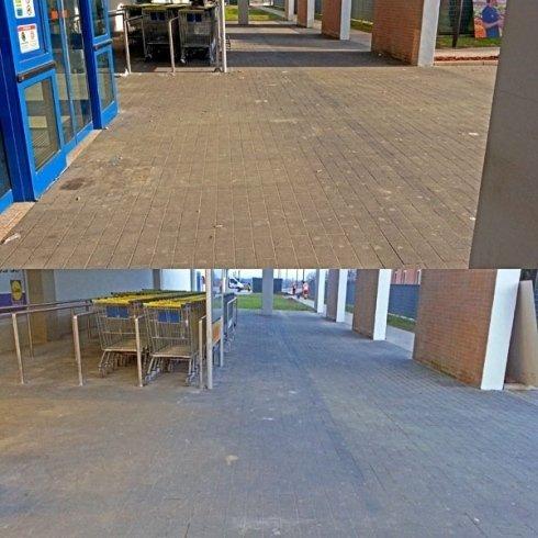 pavimento esterno prima e dopo