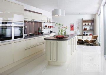 white rialto kitchen with island unit