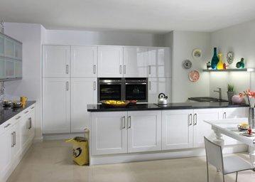 bonito kitchen all white with white gloss flush cupboards