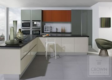 Furore kitchen in greys, white and natural wood