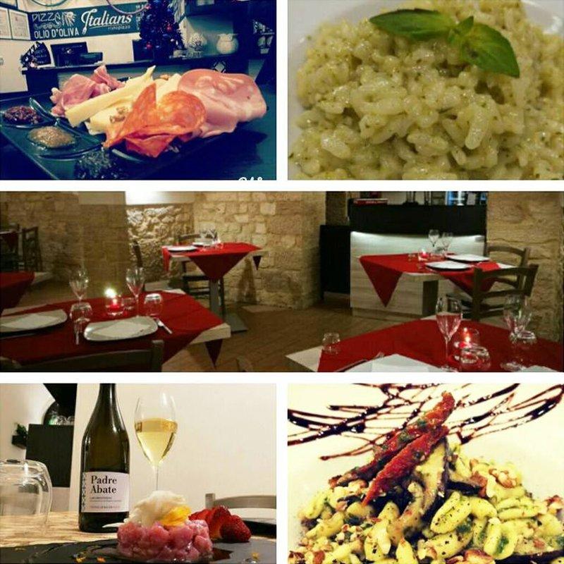 Foto con immagine centrale del ristorante e quattro piatti della carta