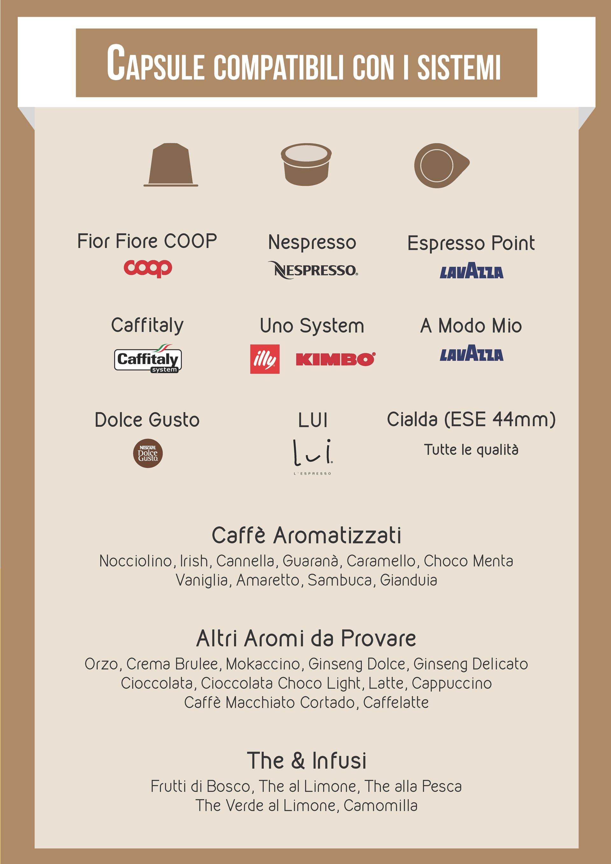 Volantino di capsule di caffè compatibili con i sistemi