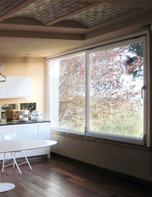 vista di una finestra in vetro all'interno di un appartamento con vista dell'esterno di alberi in una stagione autunnale