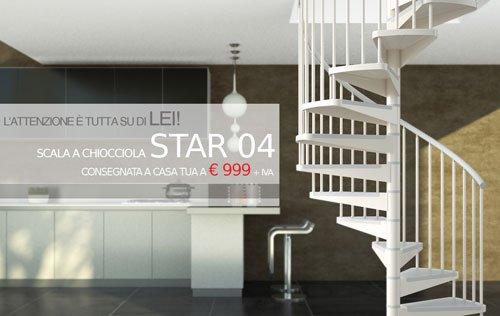 una scala curva in ferro e sulla destra un cartello con scritto Star 04 consegna a casa tua a euro 999 + IVA