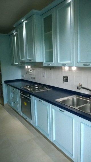 cucina in rovere patina poro blu