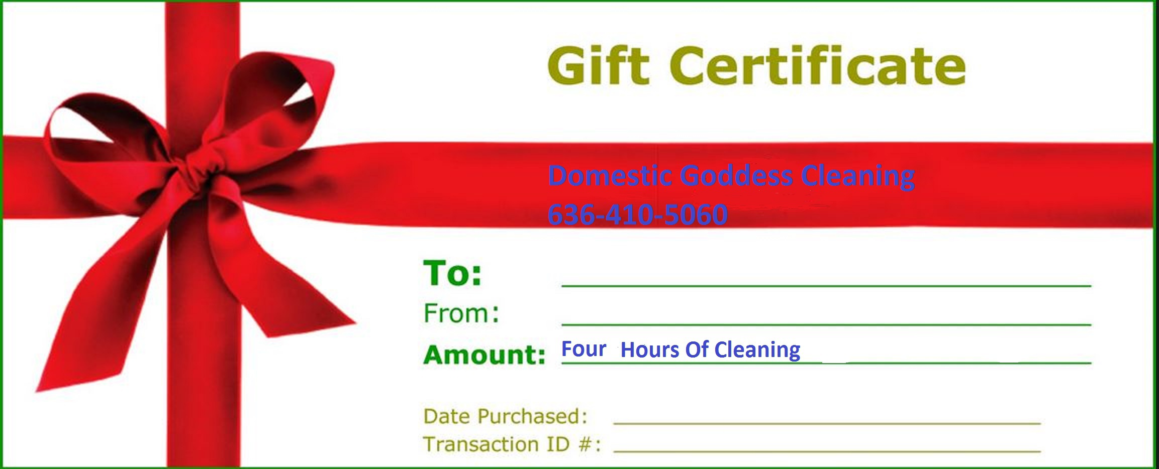 Gift certificates for home cleaning by domestic goddess for House cleaning gift certificate template
