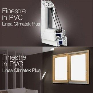 delle guide in PVC bianco e una finestra di color  legno chiaro